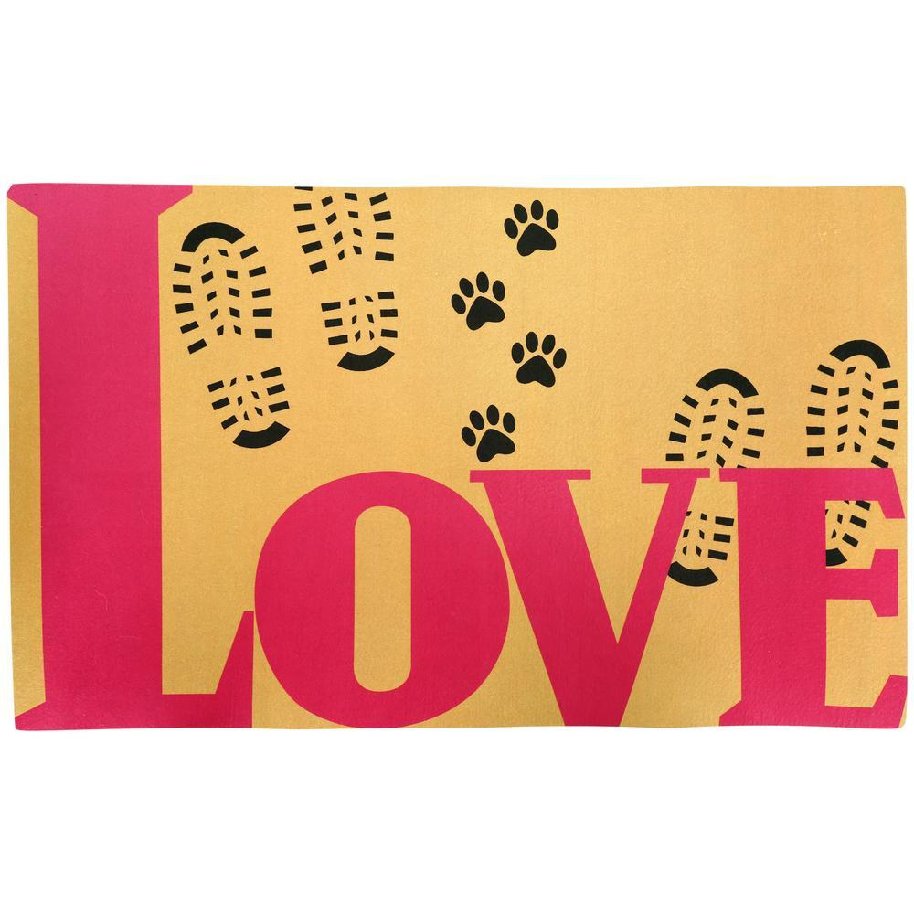 Love Lives Here Paw Print Indoor/Outdoor Mat