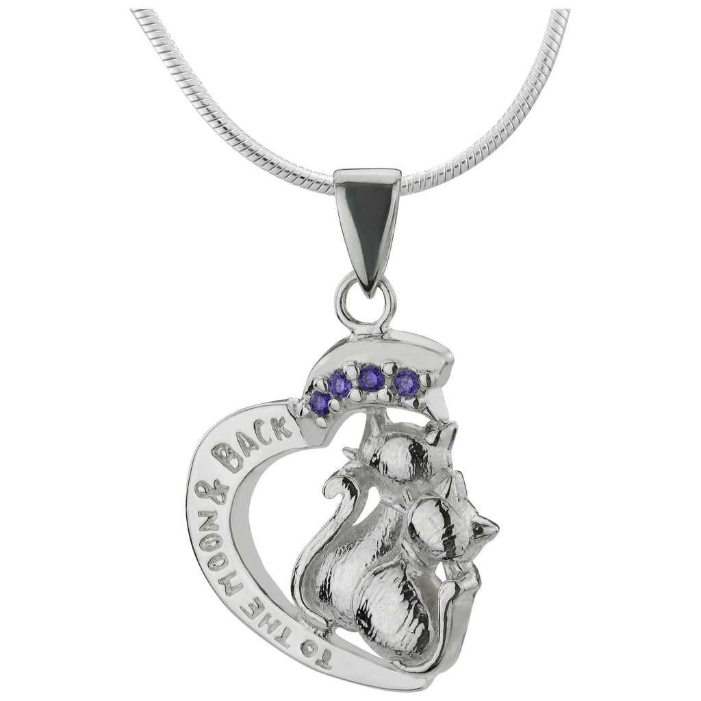 Love You To The Moon & Back Cat Sterling Necklace