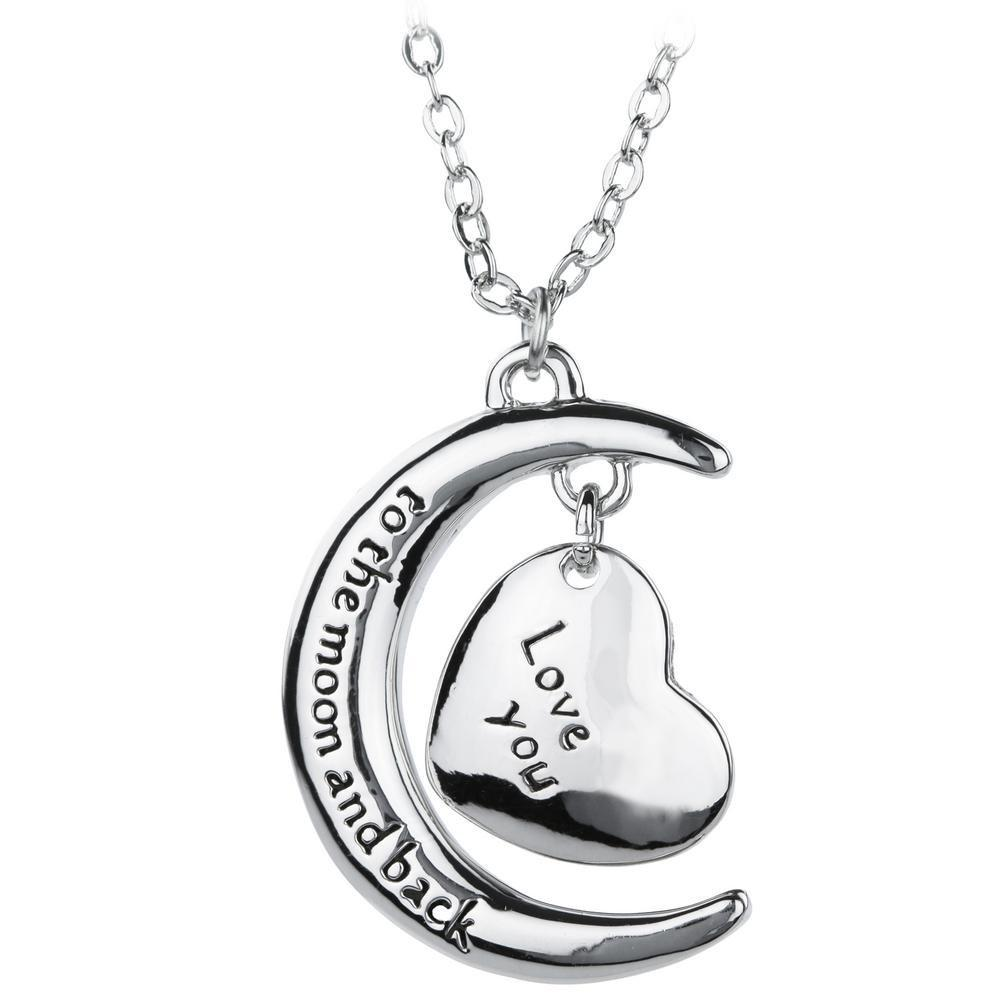 Love You To The Moon & Back Heart Necklace