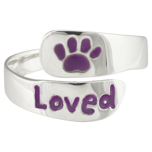 Loved Paw Print Sterling Ring