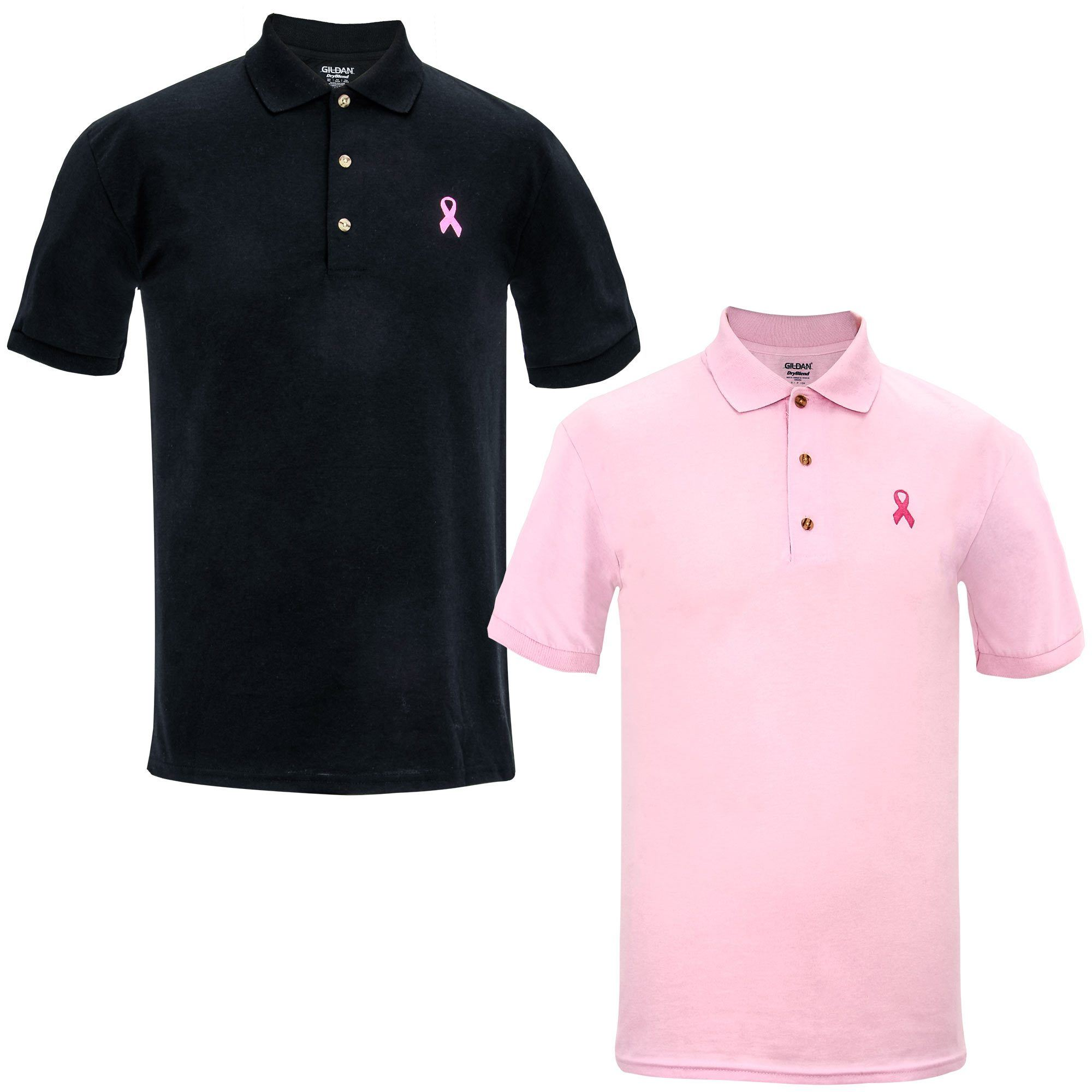 Mens Pink Ribbon Polo Shirt The Breast Cancer Site