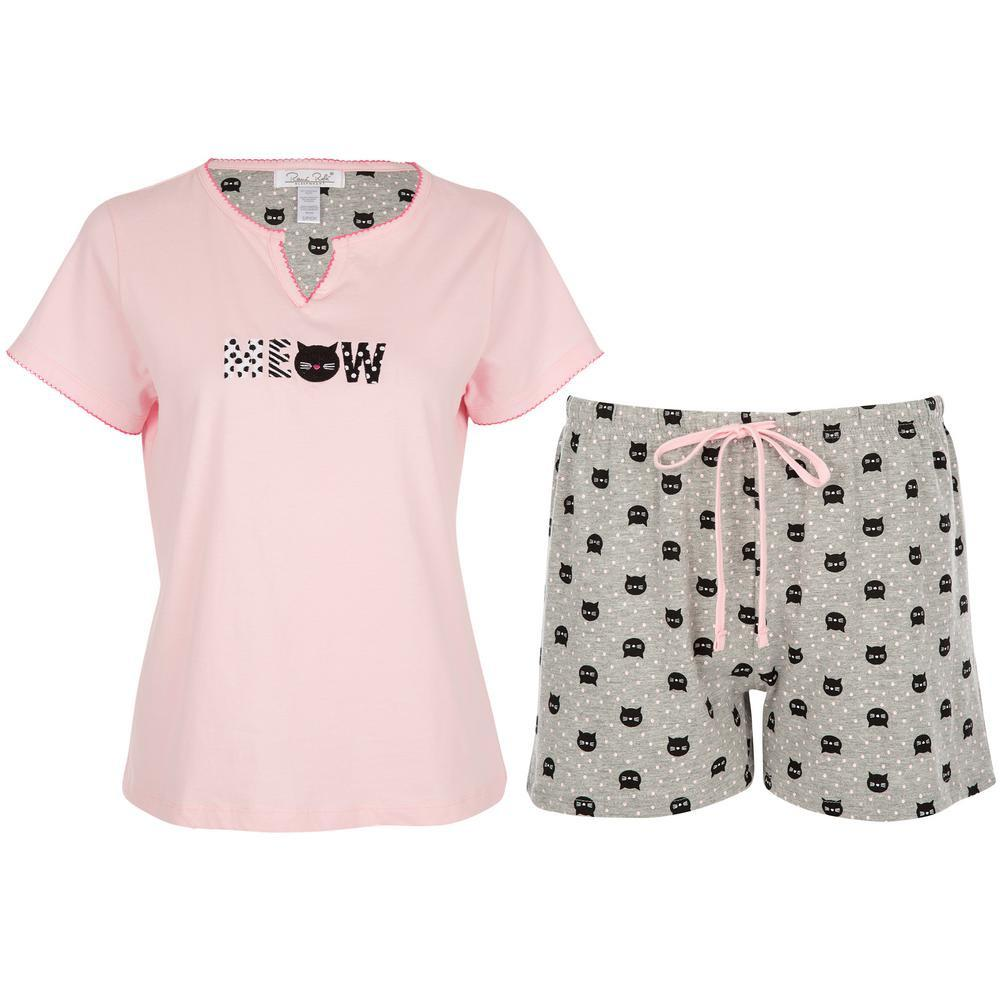 Meow Cat Pajama Shorts Set