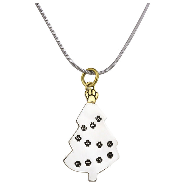 Merry Christmas Paw Print Necklace