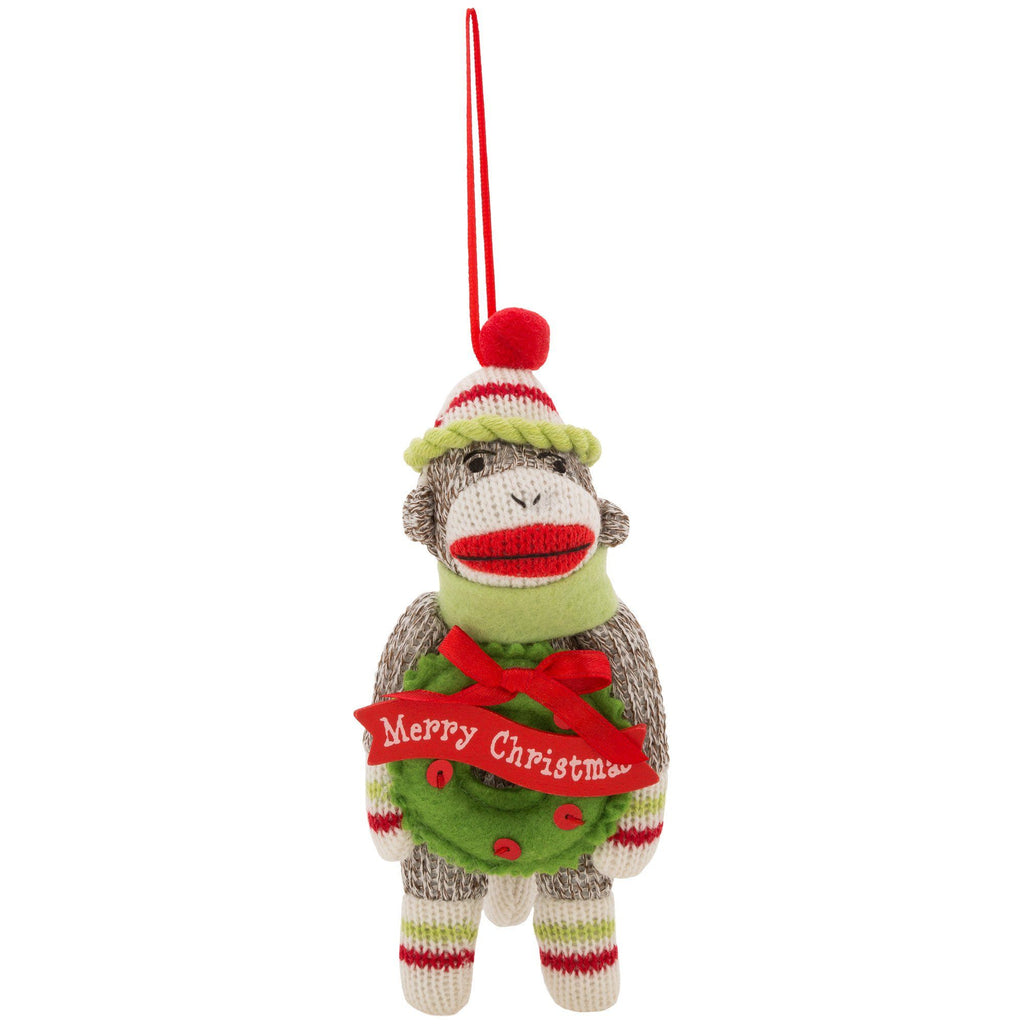 Merry Christmas Sock Monkey & Wreath Ornament