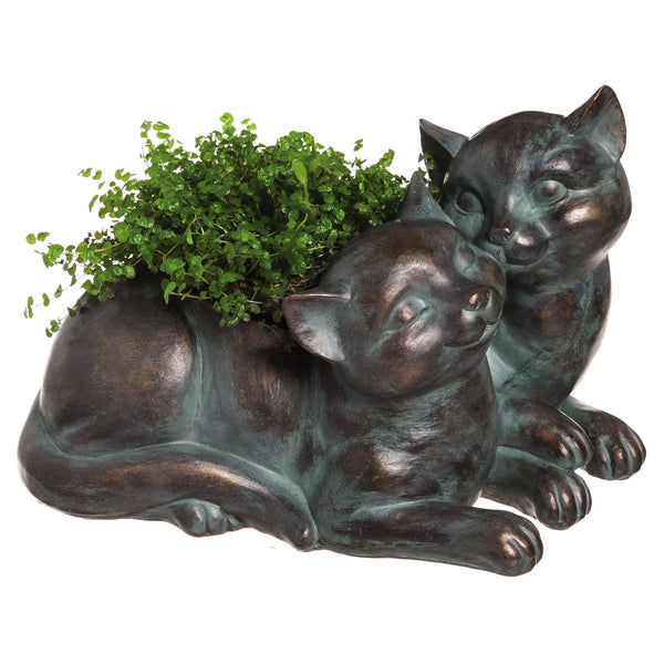 Metallic Finish Cuddly Cats Planter