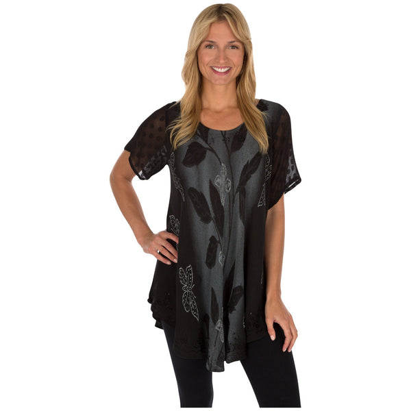 Midnight Butterfly Short Sleeve Tunic