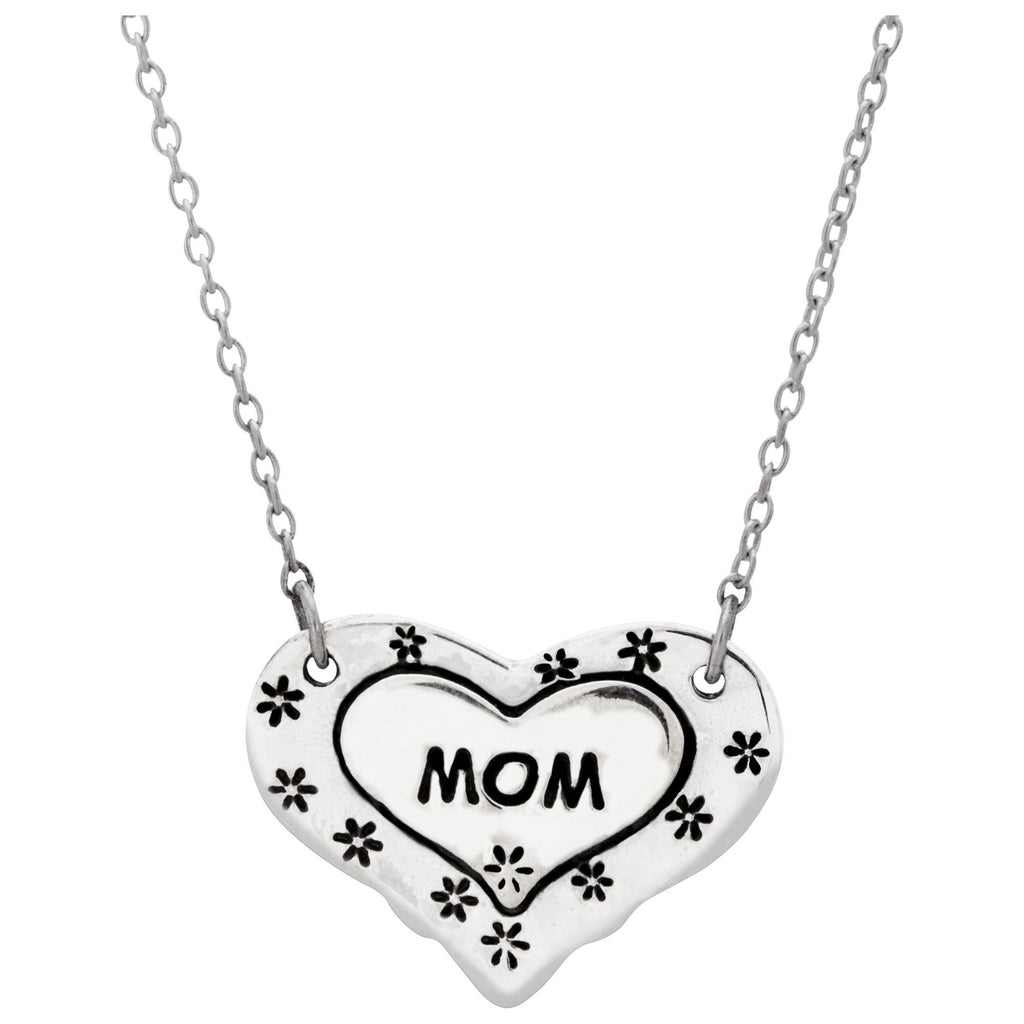 Mom Floral Heart Sterling Necklace