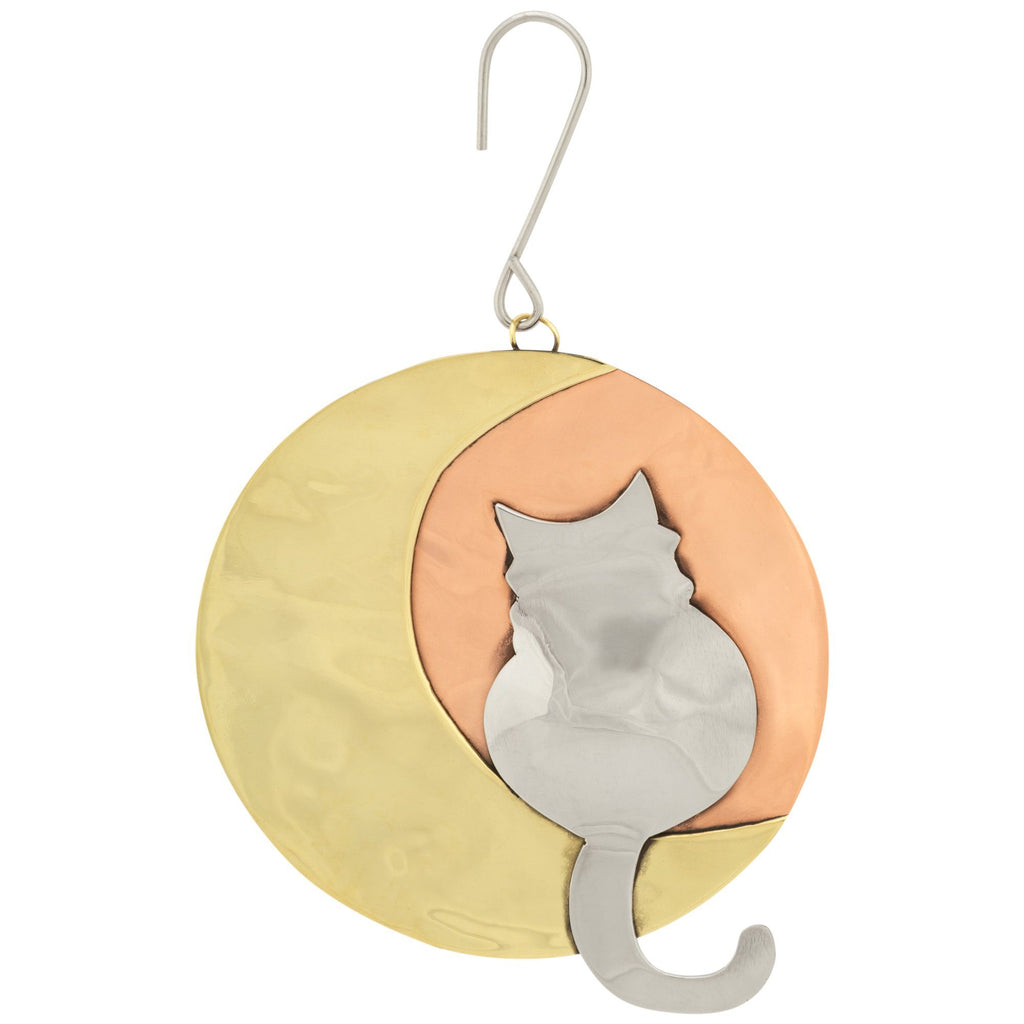 Moonlight Cat Mixed Metal Ornament