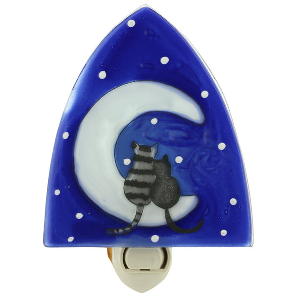 Moonlight Cats Recycled Glass Night Light