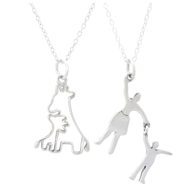 Mother & Daughter Silhouette Sterling Necklace