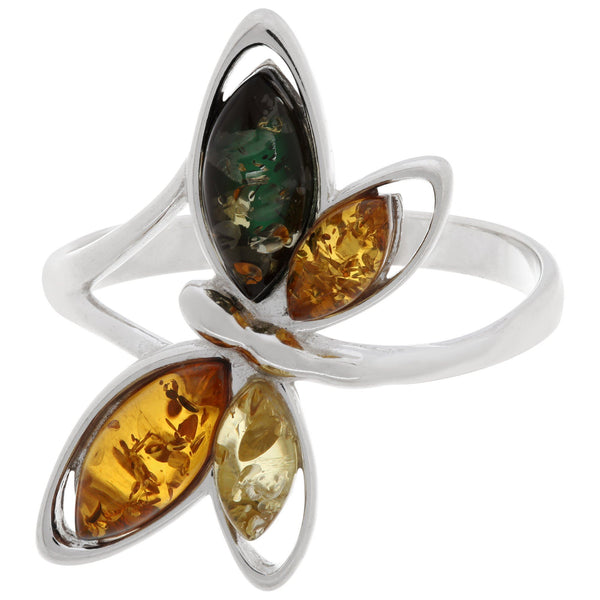 Multicolor Dragonfly Amber & Sterling Ring