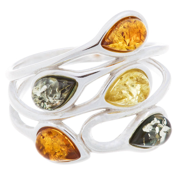 Multicolor Drops Of Amber Sterling Ring