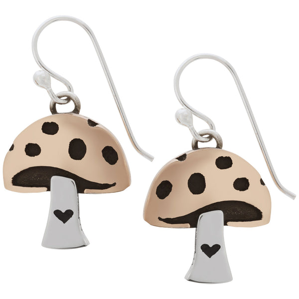 Mushroom Love Sterling & Copper Earrings