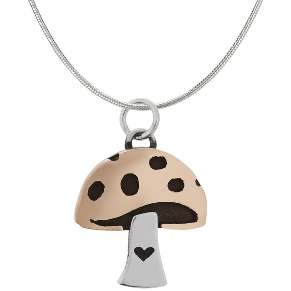 Mushroom Love Sterling & Copper Necklace
