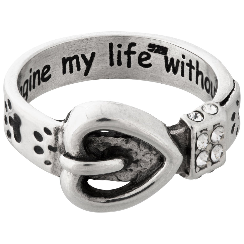 My Life Paw Print Collar Sterling Ring