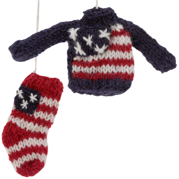 Old Glory Sweater & Stocking Ornaments Set