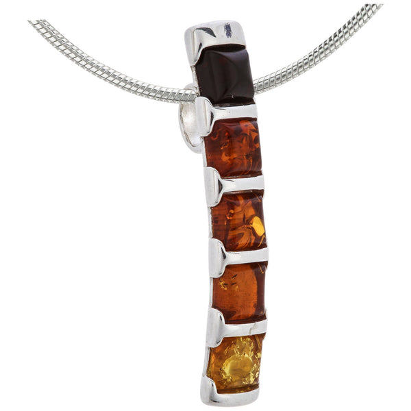 Ombre Amber & Sterling Necklace