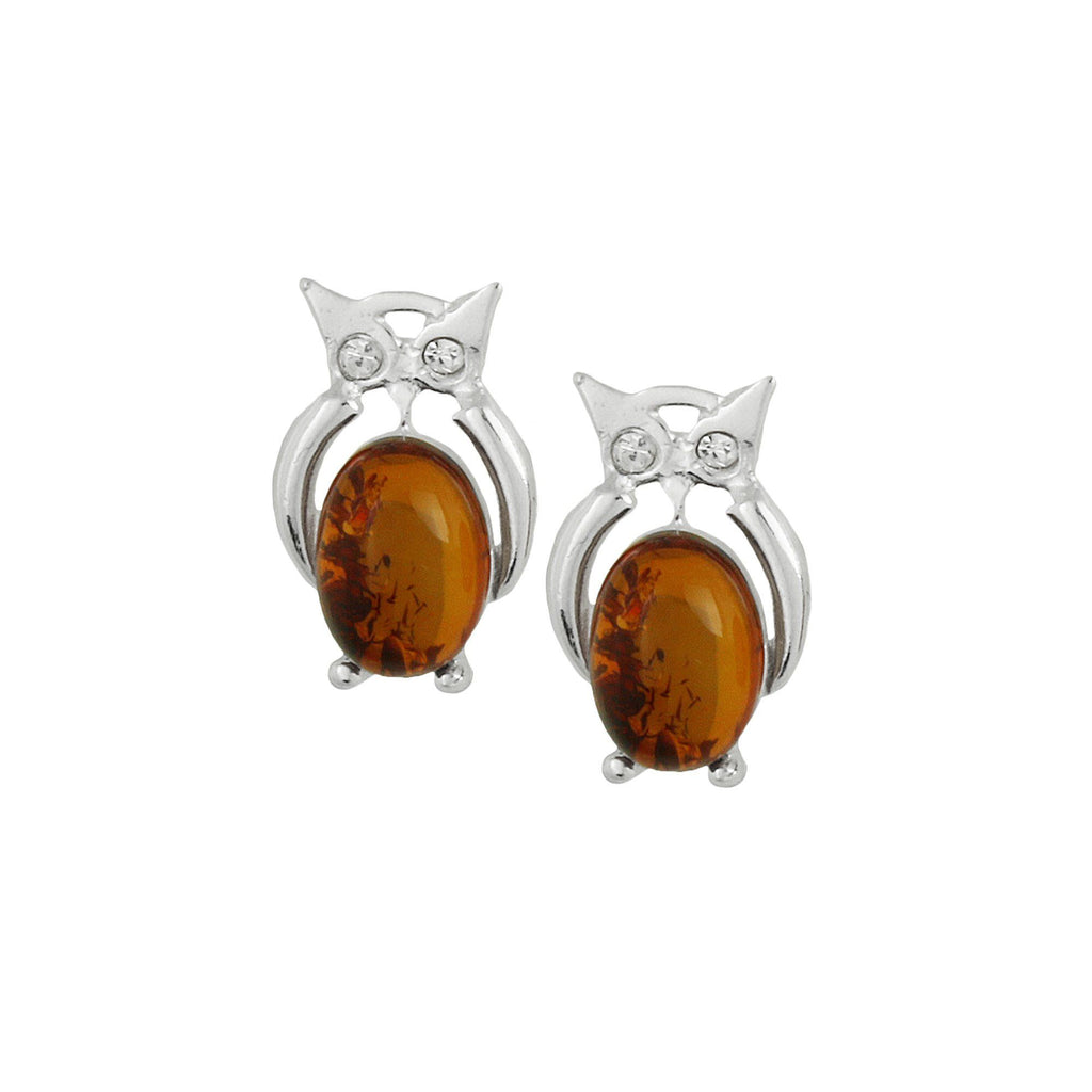 Owl Amber & Sterling Earrings