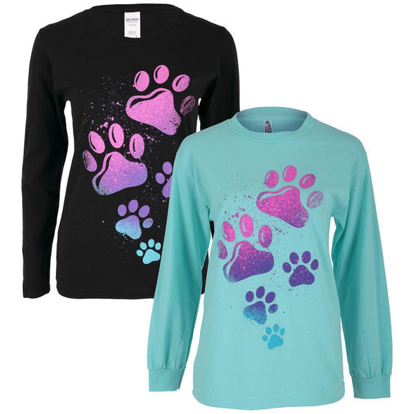Paint Splatter Paws Long Sleeve T-Shirt
