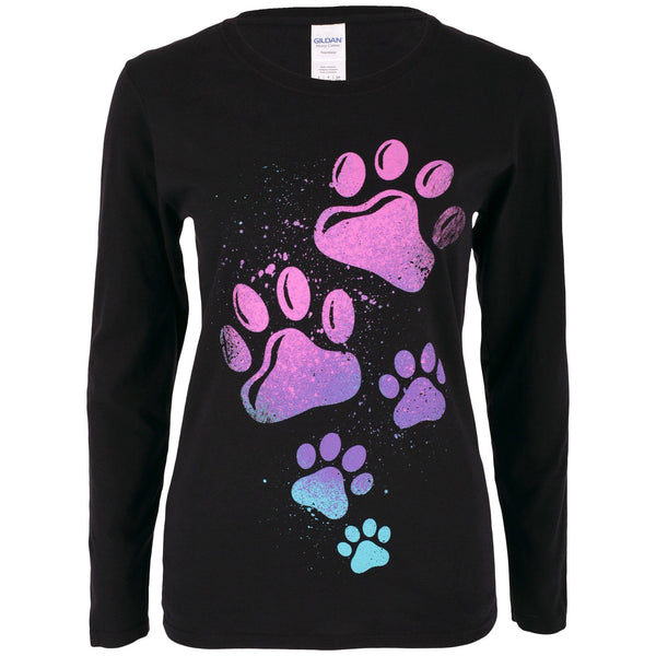 Paint Splatter Paws Long Sleeve Tee