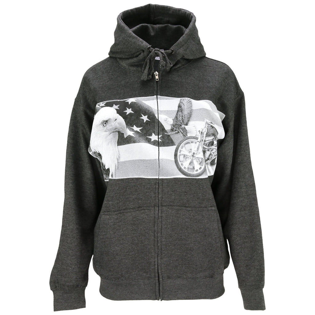 Patriotic Eagle & Motorcycle Hooded Zip Sweatshirt