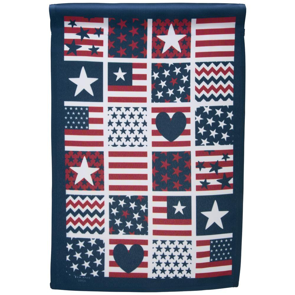 Patriotic Patches Garden Flag