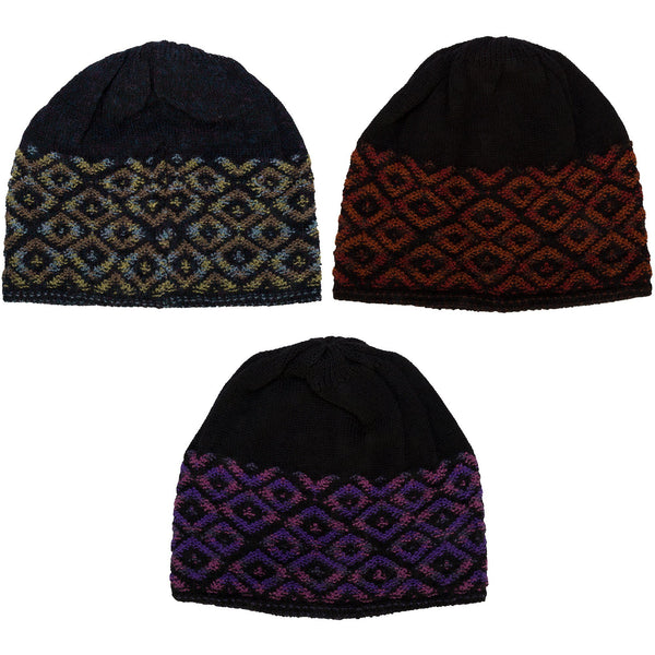 Patterned Alpaca Wool Reversible Hat