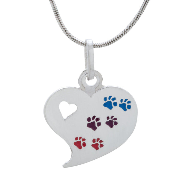 Paw Palette Sterling Heart Necklace
