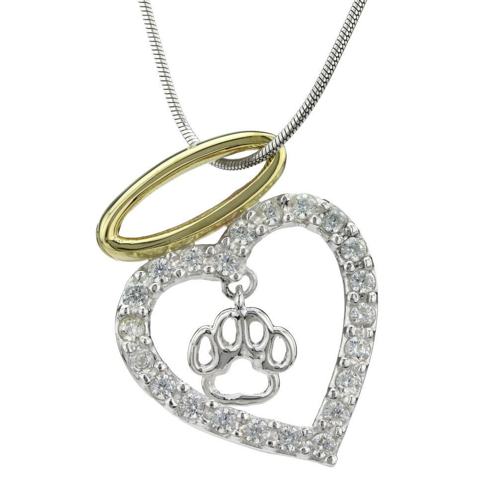 Paw Print Angels In My Heart Sterling Necklace