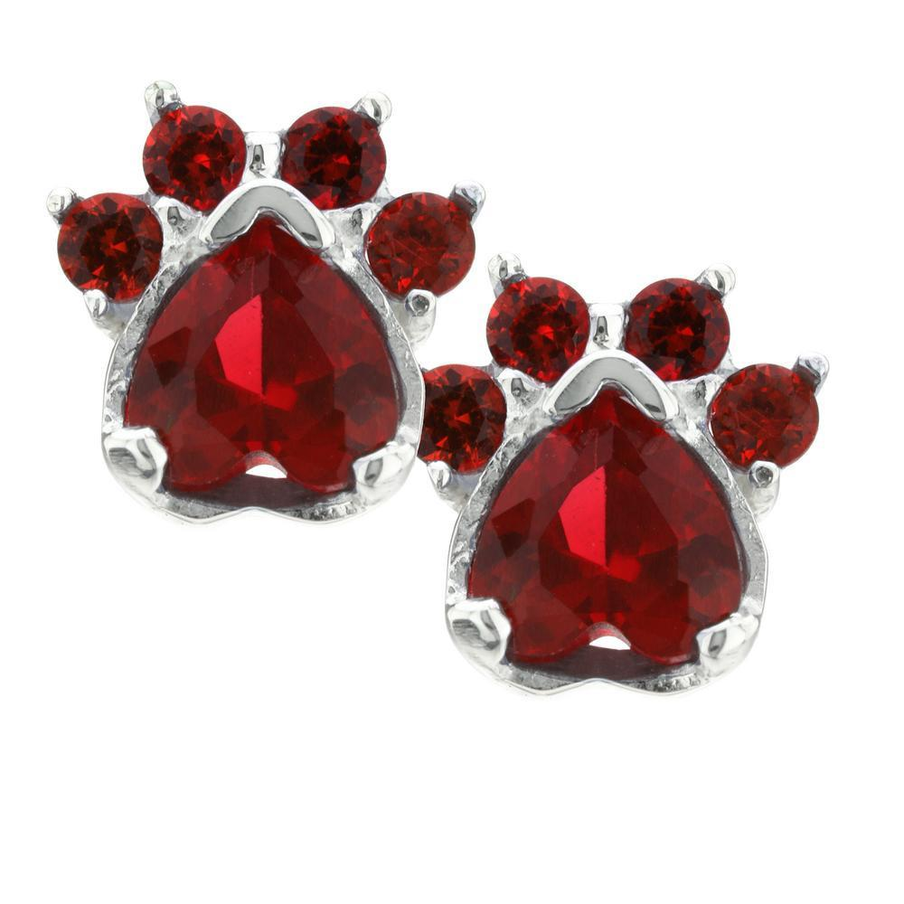 Paw Print Birthstone Earrings