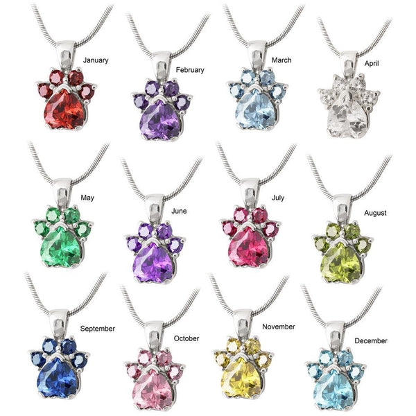 Paw Print Birthstone Sterling Necklace