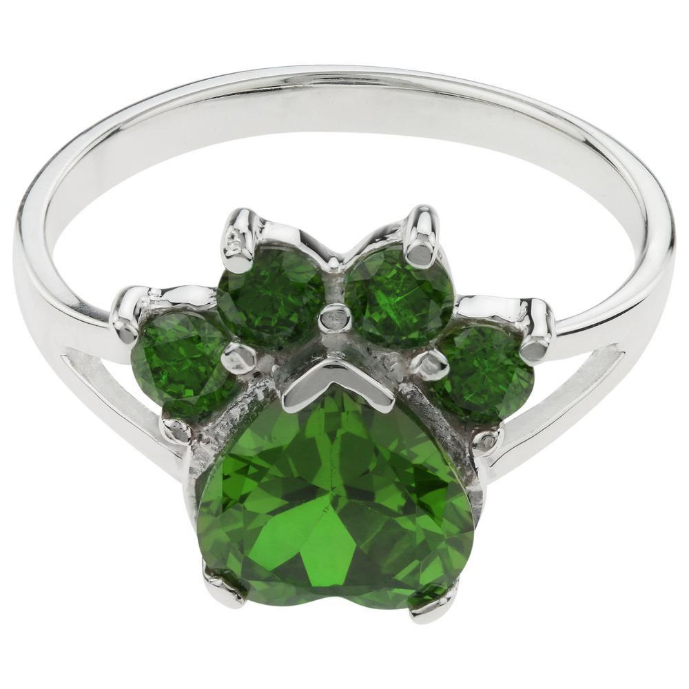 Paw Print Birthstone Sterling Ring