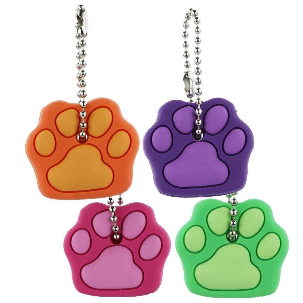 Paw Print Bright Key Covers - Set Of 4