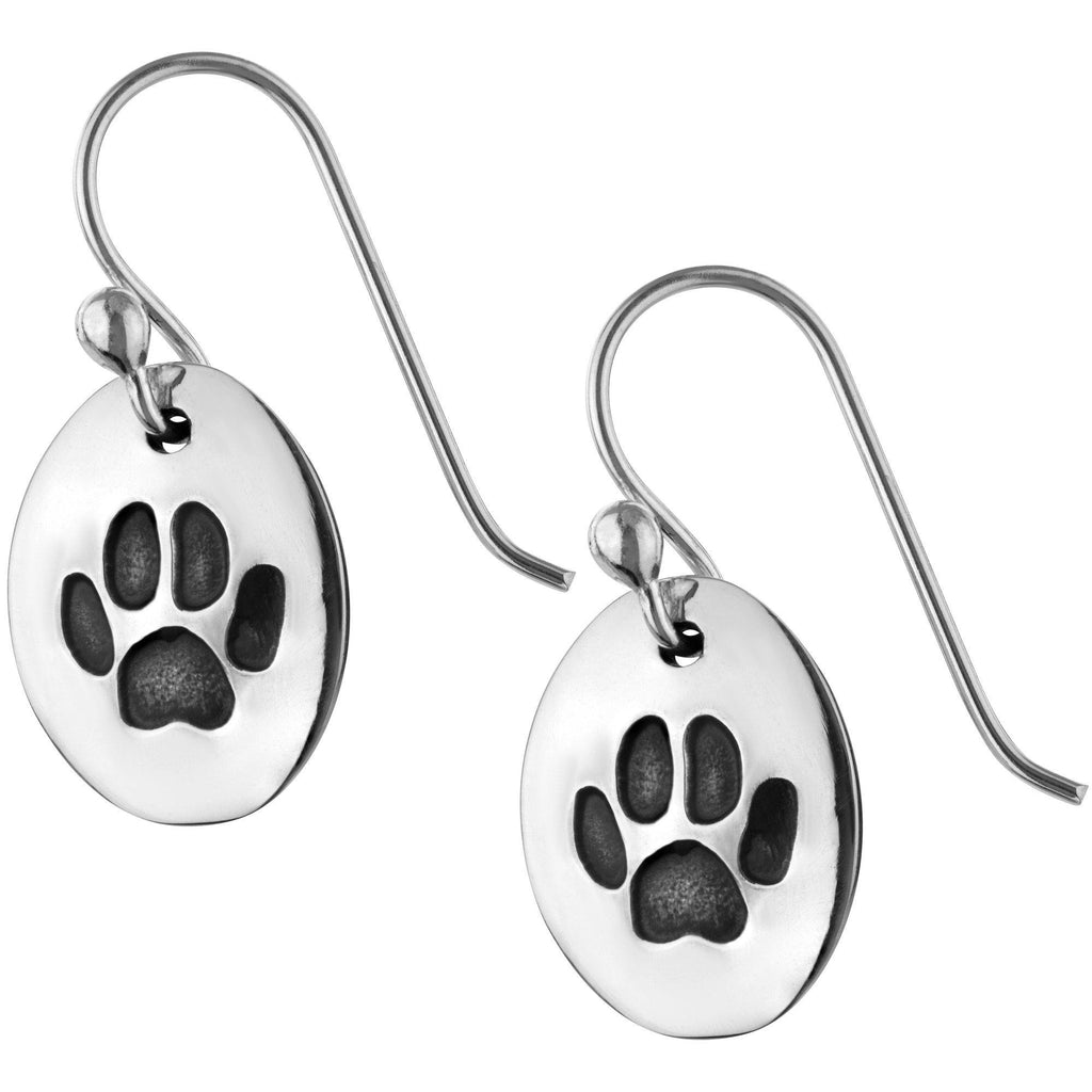 Paw Print Cut Out Sterling Earrings