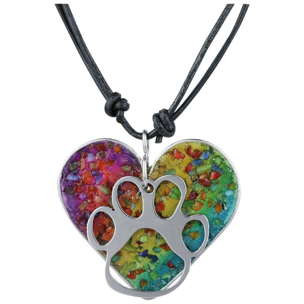 Paw Print In My Heart Gemstone Array Necklace