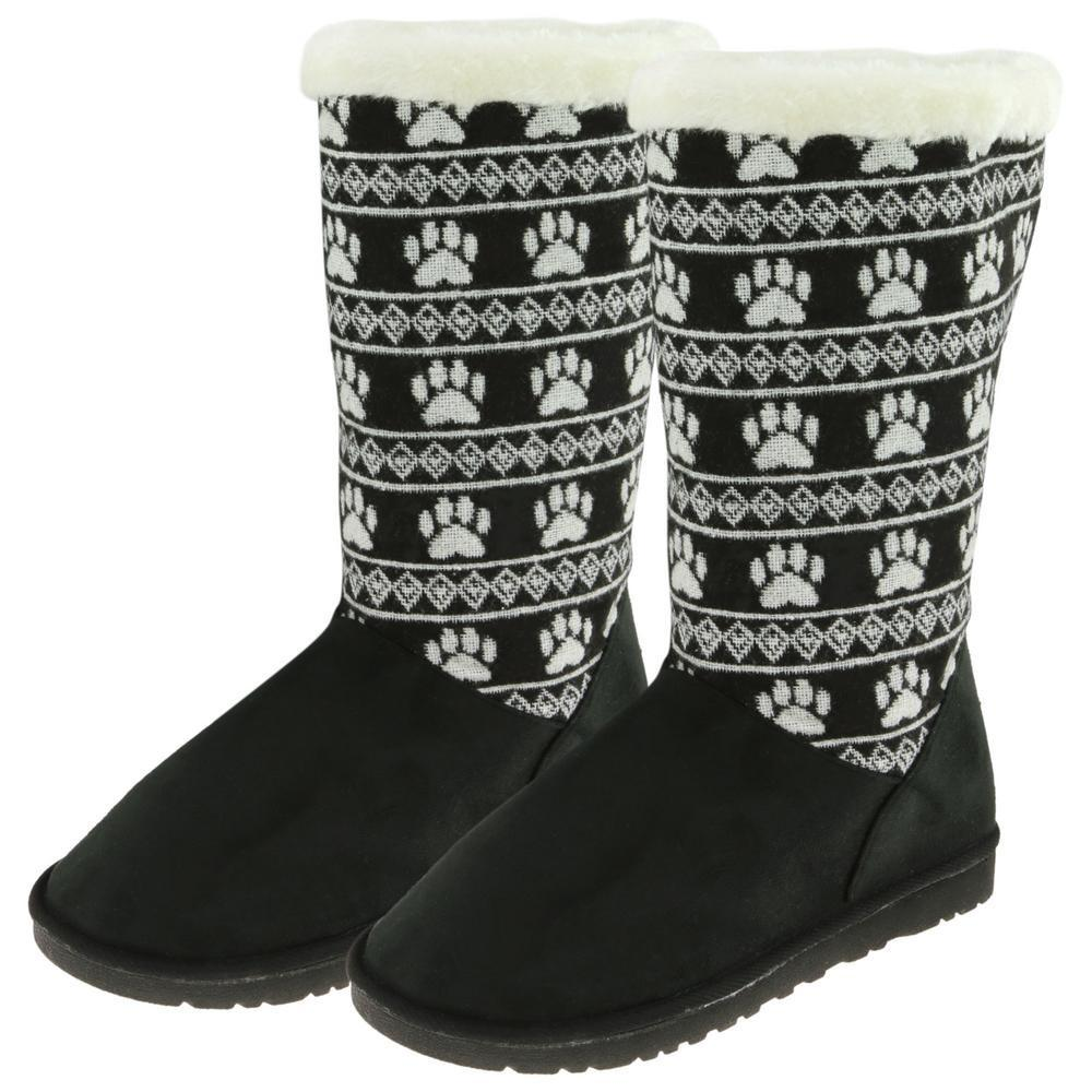 Paw Print Knit Boots