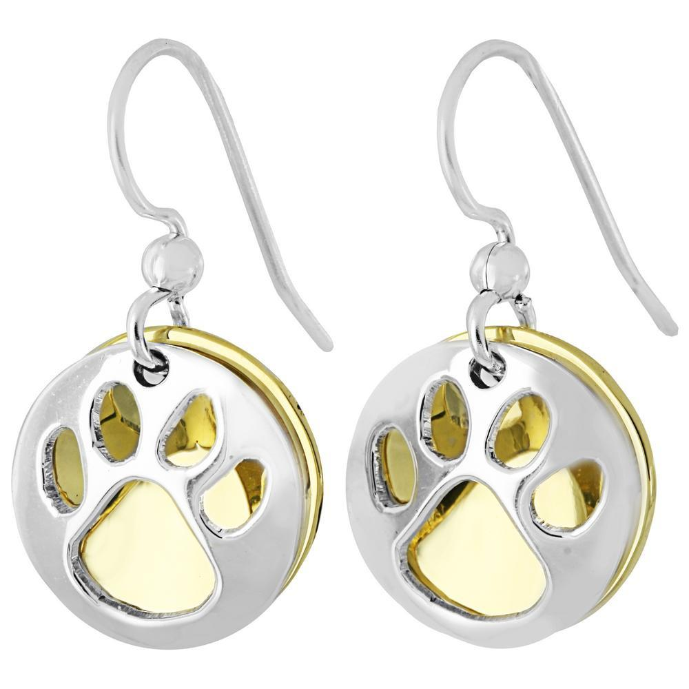 Paw Print Silver-Plated Earrings
