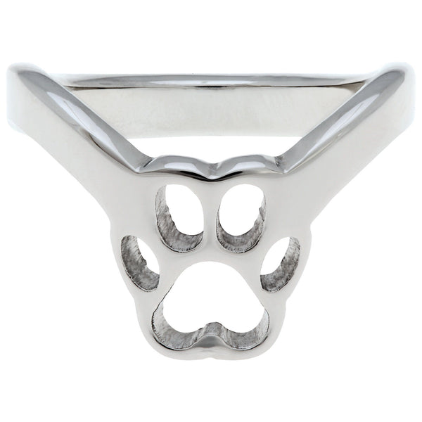 Paw Print Stainless Steel Thumb Ring