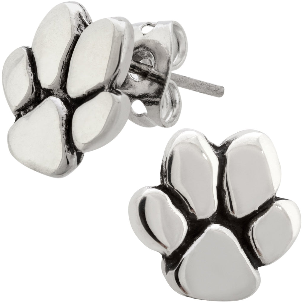 Paw Print Sterling Post Earrings