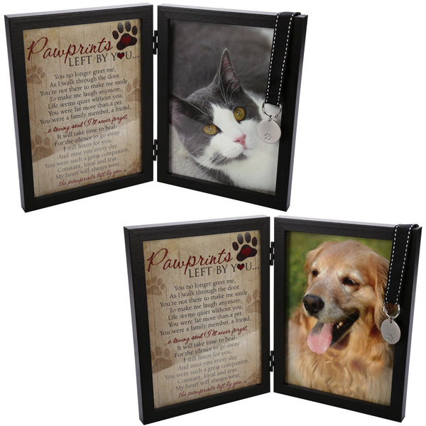 Paw Prints Memorial Frame & Engraveable Pet Tag Set