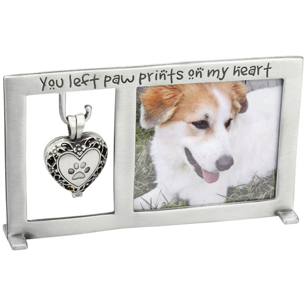 Paw Prints Memorial Frame & Heart Ashes Locket Set