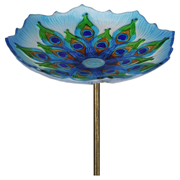 Peacock Glass Bird Bath