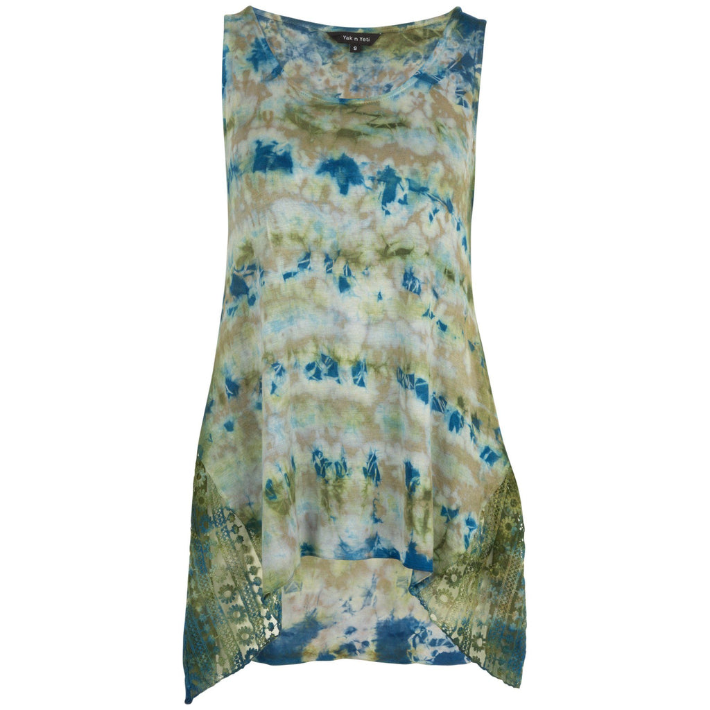 Peek-A-Boo Lace Tye Dye Sleeveless Tunic