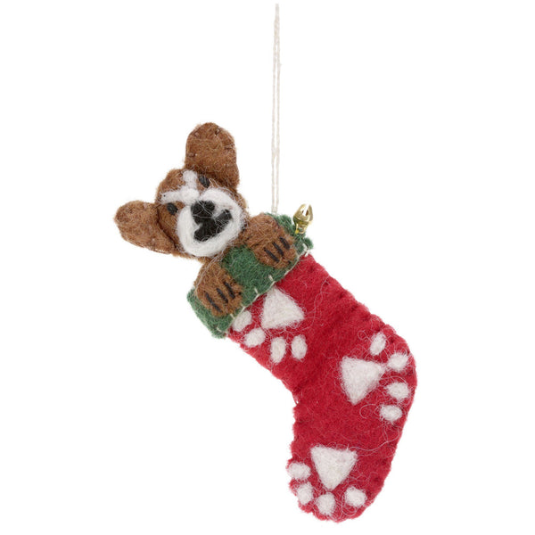 Peek-A-Boo Rocky Dog Stocking Ornament