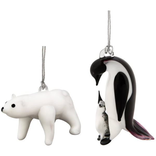 Penguin & Polar Bear Ornaments Set