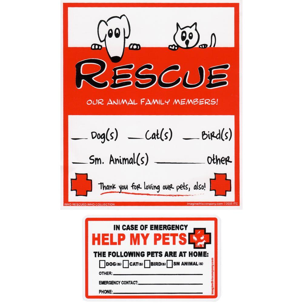 Pet Rescue Alert Stickers & Wallet Card Set