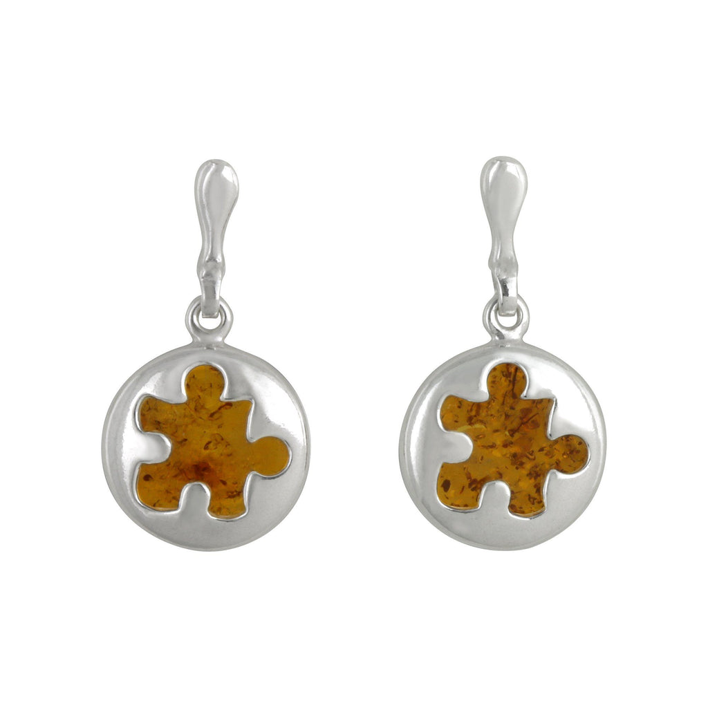 Piece Of The Puzzle Amber & Sterling Earrings