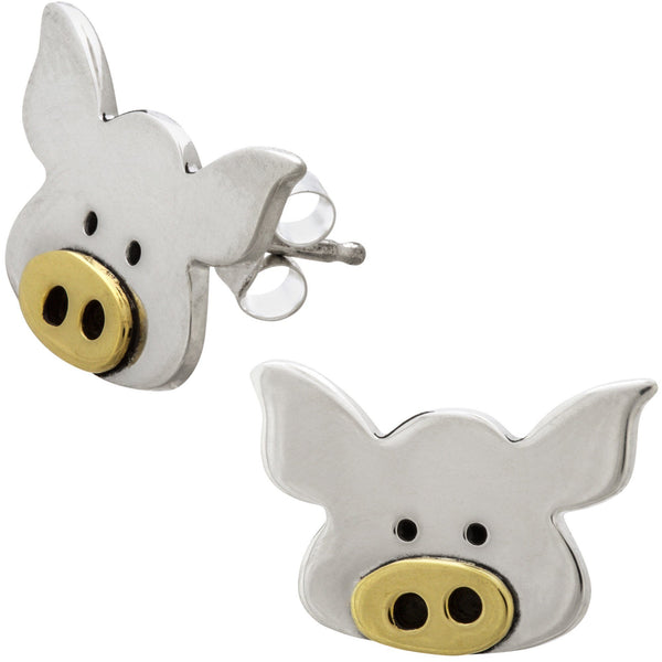 Piggy Portrait Mixed Metal Earrings