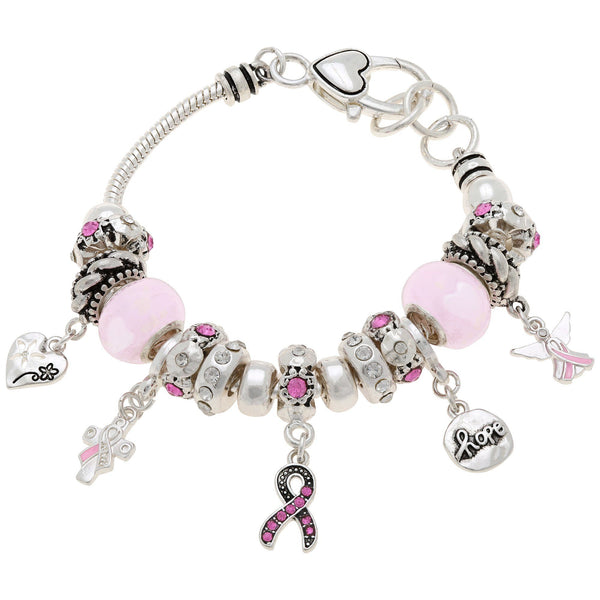 Pink Ribbon Beauty Charm Cable Bracelet