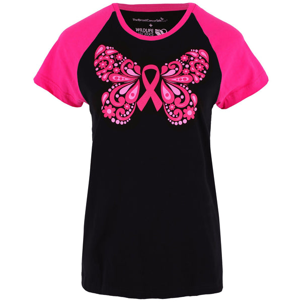 Pink Ribbon Butterfly Baseball Tee